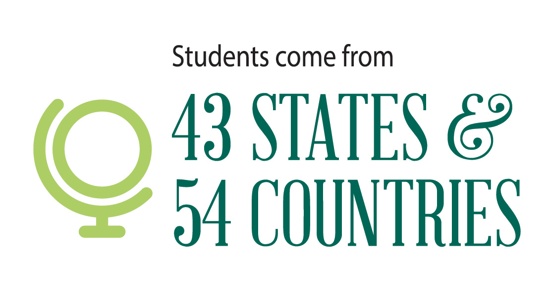 students from 43 states and 54 countries