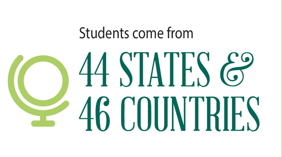 students come from 44 states and 46 countries