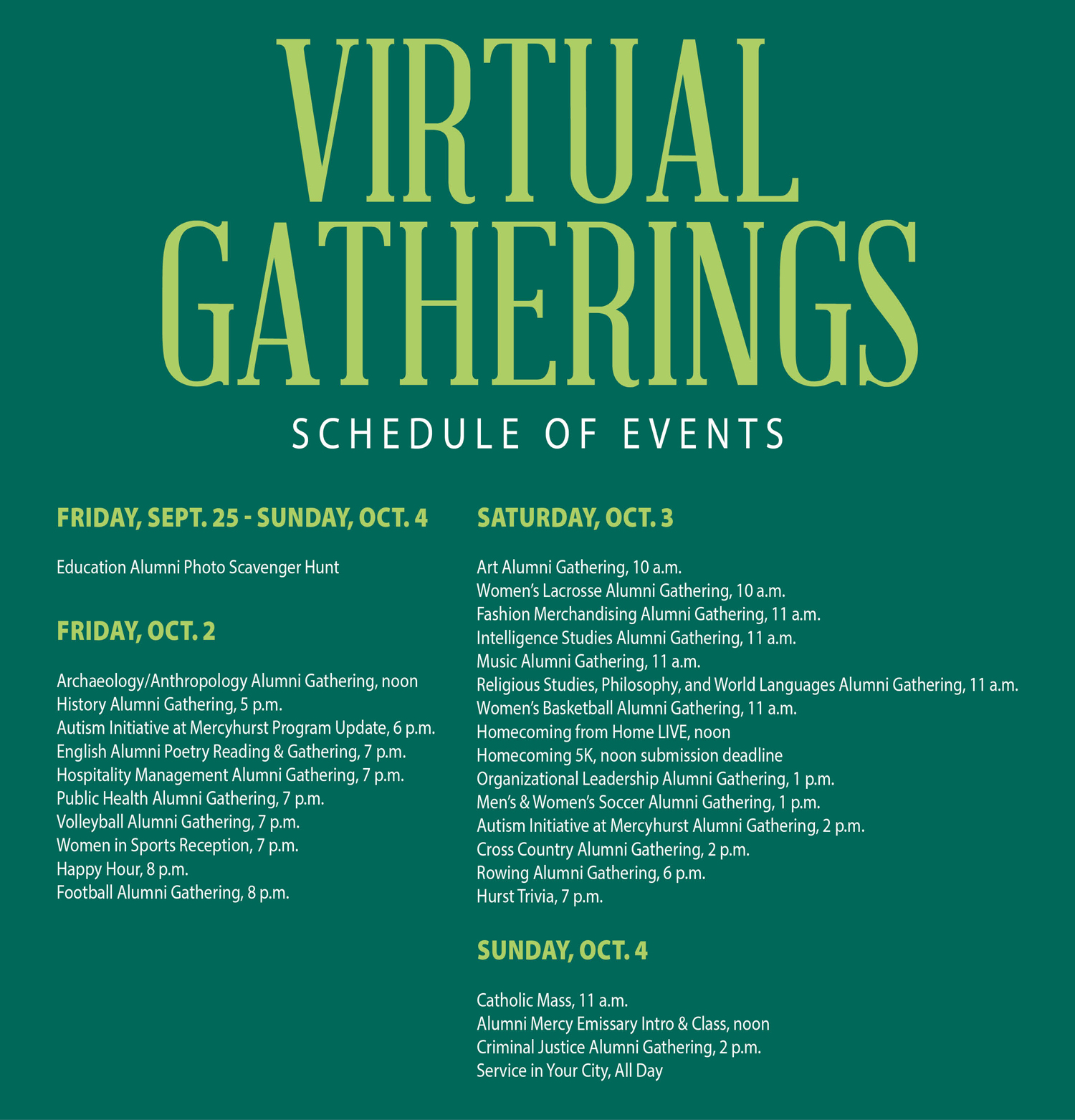 virtual homecoming schedule of events